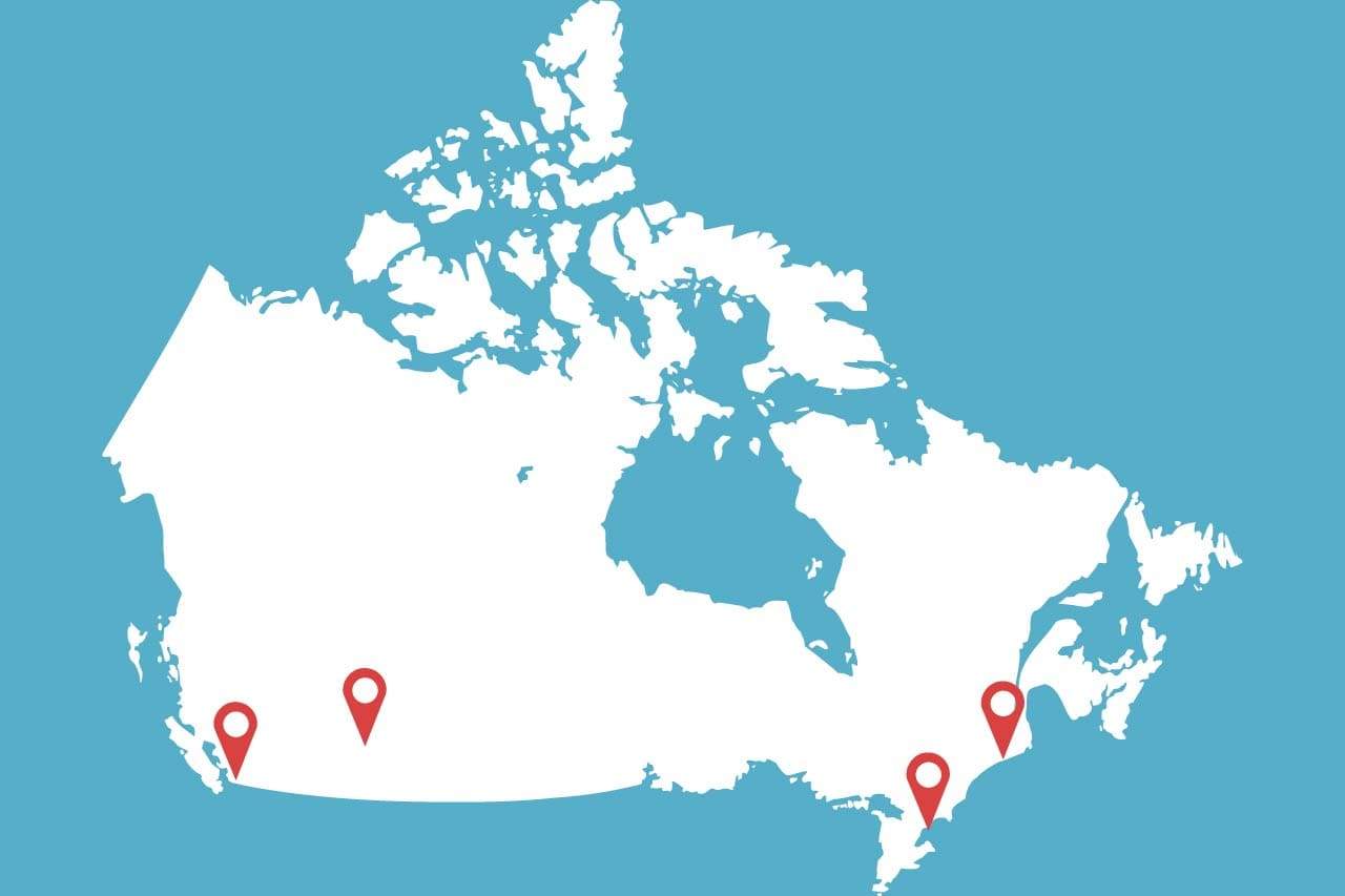 Map of Canada and Major Canadian Cities